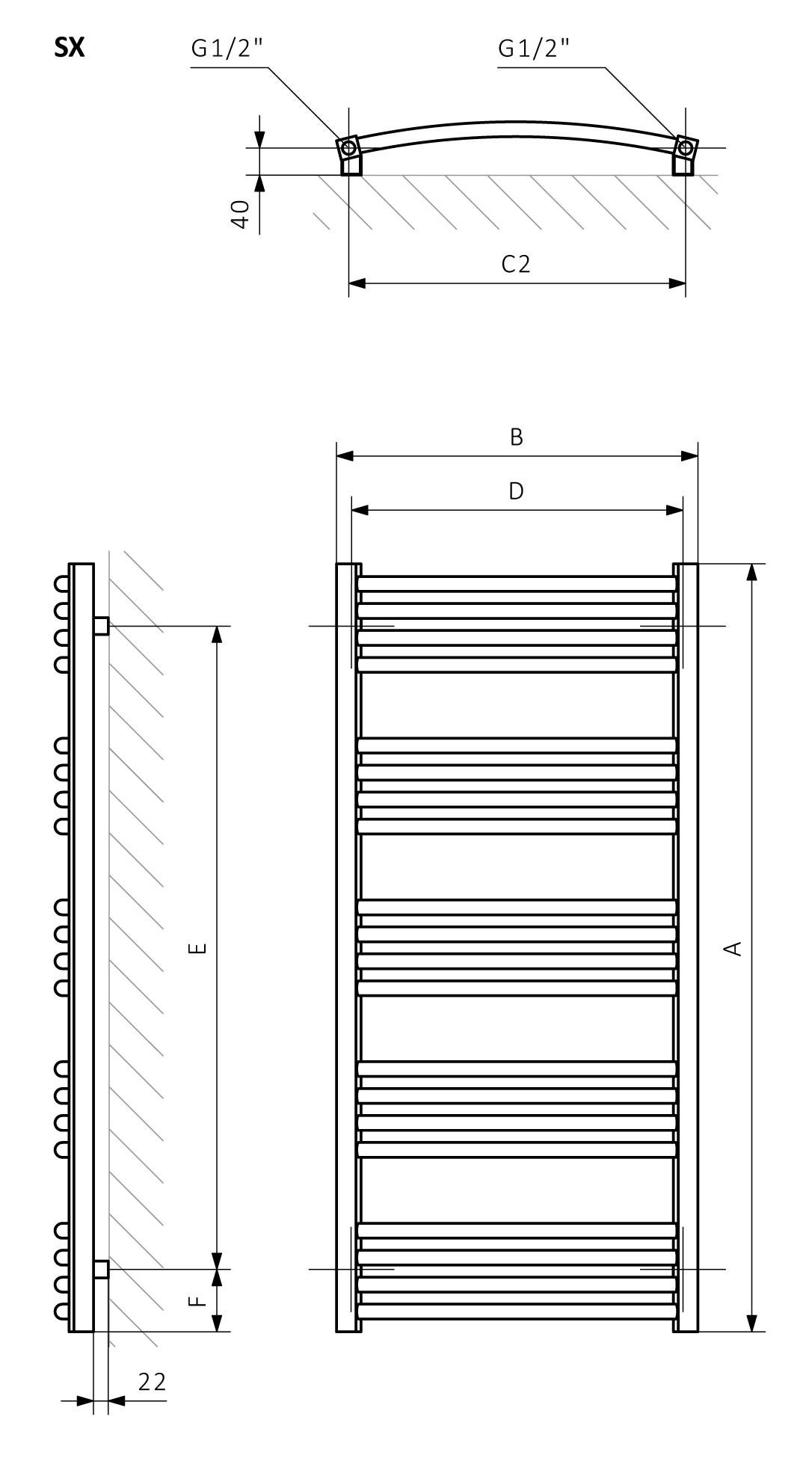 A - hauteur B - largeur C1-C5 - espacement des connexions D - distance entre les fixations à l'horizontale E - distance entre les dispositifs en F verticale - distance entre l'axe inférieur des fixations et le bord inférieur du collecteur